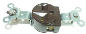 General Elec 15A, 250V, Brown 2 Pole, 3 Wire Grounding, Heavy Duty Single Outlet