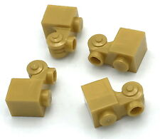 Lego 4 New Pearl Gold Bricks Modified 1 x 1 with Scroll with Open Stud Parts