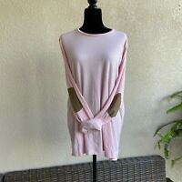 Womens Lauren Ralph Ribbed Knit Pink Top Elbow Patches Long Sleeves NEW NWT 2X
