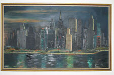 Original Art oil on board CITYSCAPE w/ RIVER - Signed MOSKOWITZ  framed painting
