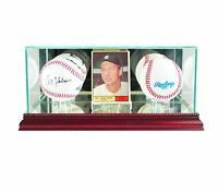 *NEW Double Basebal & Card Glass Display Case MLB NCAA