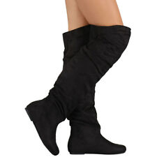 New Womens Vegan Suede Slouchy Baggy OTK Over The Knee High Flat Boot Pull On US