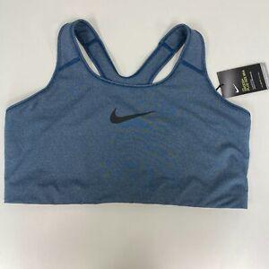 Nike Womens Valerian Blue DriFIT Mid Support Unpadded Sports Bra Plus Sz 2X $30