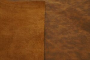 Dusty caramel brown pull up leather sheets. Antiqued genuine leather