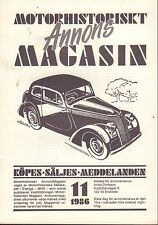 Motorhistoriskt Magasin Annon Swedish Car Magazine 11 1986 Dodge 032717nonDBE