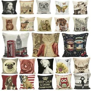 Square Cushion Covers Decorative Pillowcases with Zipper Vintage Tapestry 18x18'
