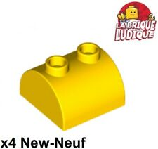 Lego - 4x Brique Brick Modified 2x2 Curved Top 2 Studs jaune/yellow 30165 NEUF