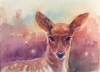 ACEO Deer painting Sunset Fawn Original Artwork art Listed By Artist American