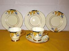 PLANT TUSCAN FLOWERS Part Tea Set (2 cups,1saucer&3 tea plates) ~WEAR ON GOLD~