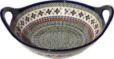 "Polish Pottery Large Deep Bowl 12"" Diameter From Zaklady Ceramiczne 1347/du60"