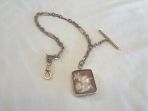 Fabulous Antique Gold Filled Agate Watch Fob with Pheasant & GF Watch Chain