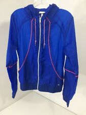 Women's Adidas Neo Super Light Weight Wind Breaker Size M Blue/ Neon Pink
