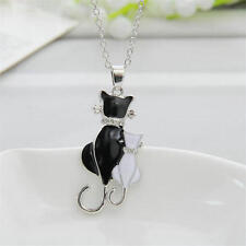 Fashion Womens Girl Silver Plated Charm Cat Pendant Chain Necklace Jewelry