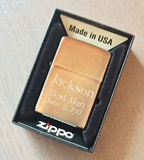Custom Engraved Zippo 204B Solid Brass Brushed Finish Personalized Lighter, NEW