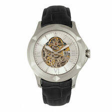 Reign Dantes Men's Automatic Skeleton Dial Black Leather Silver Watch RN4703