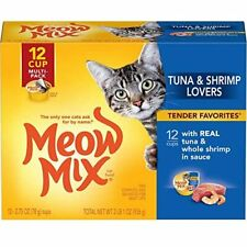 Meow Mix Savory Morsels Wet Cat Food Seafood Favorites 12 cans
