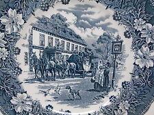 "Vintage Blue Plate ""Coaching Taverns"" Tudor Ware Staffordshire England  10"""