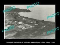 OLD LARGE HISTORIC PHOTO LAE PAPUA NEW GUINEA THE GUINEA AIRWAYS AIRFIELD c1930