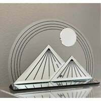 Jon Gilmore Lucite and Mirror Moon Over Pyramid Sculpture