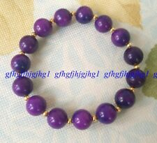 Natural 10mm Purple Sugilite South Africa Round Bead Bracelet 7.5''
