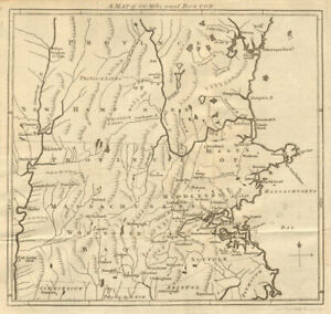 A map of 100 miles round Boston. Massachusetts Bay province. GENTS MAG 1775