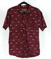 Brooklyn Cloth Mfg Co Mens Size L Fish Shirt Red Outdoors Short Sleeve Hip Shirt