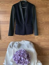 womens navy blue charcoal EXPRESS blazer suit jacket faux leather one button S 4