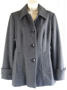 Herman Kay Wool Coat Charcoal Button Up Women M Size