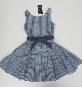 NWT Ralph Lauren Girls Sleeveless Fit & Flare Dobby Tiered Dress 7 8 12 14 16