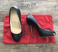 Authentic Christian Louboutin Big Lips Black Matte Steel Metal Heel Size 37