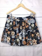 Uncivilized Womens Skirt 14 Floral A Line Orange Black Work Dinner Party C123