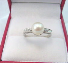 CULTURED AKOYA PEARL 6.97 mm. with DIAMONDS VINTAGE KIMBERLY 10K WHITE GOLD RING