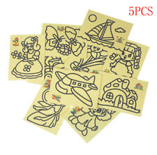 5pcs Kids DIY Color Sand Painting Art Creative Drawing Toys Sand Paper CraftsEP