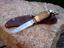 grandioses altes Jagdmesser in Original Lederscheide Horngriff Sammlerstück