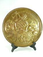 Vintage Brass Embossed Wall Hanging Plate Pineapple & Fruits Home Wall Decor