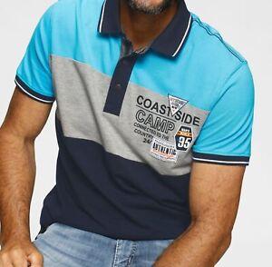 Man's World Poloshirt Blockstreifen, 597881 Blau Gr.XXXXL (68/70)