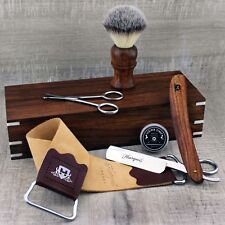 CLASSIC SHAVING SET Synthetic Brush & Straight Cut Throat Razor | Vintage Barber