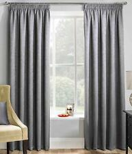 PAIRS OF STEEL GREY BLOCK OUT THERMAL SOFT TOUCH TEXTURED  TAPE TOP CURTAINS