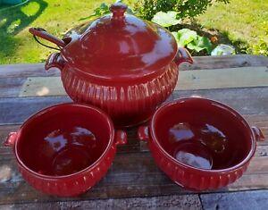 Harry & David Soup Tureen Set Ladle Lid & 2 Bowls Dark Red Dishwasher Safe