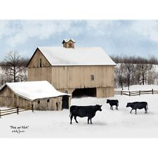 Billy Jacobs Black and White Cow and Snow Art Print 16 x 12
