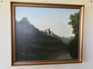 EDWARD HERSEY ORIGINAL OIL PAINTING ENGLISH COUNTRYSIDE 1980's 1985