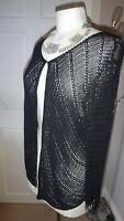 Stunning M & S Black Beaded CROCHET Bolero Cardigan - Size M/L