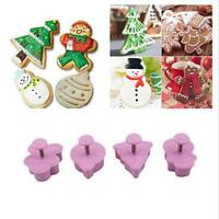 New 4pcs Xmas Fondant Cake Cupcake Decor Cookie Biscuit Plunger Cutter Mold Tool