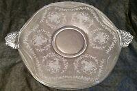 Vintage Fostoria Etched Mayflower Torte Glass Serving Platter Mid Century Retro