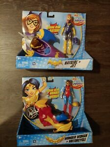 DC Super Hero Girls Wonder Woman & Batgirl Motorcycle + Jet NEW