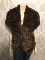 Verona Women's VIVANA Oversized Point Collar Faux Fur Vest Sz S Small Brown New