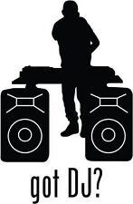 "Got DJ Disc Jockey Car Window Decor Vinyl Decal Sticker- 6"" Tall White"