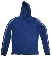 Vintage Tommy Hilfiger Hoodie Men's Dark Blue Sweatshirt Size L Logo Arms Cotton