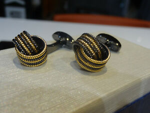 Taigrama Shirt Cufflinks Gun Metal Gray Gold Rope Knot