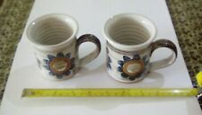 Two Super Studio Pottery Mugs with Hand Painted Flower Decoration  mark Windmill